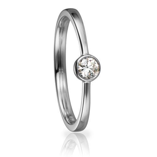 Solitaire Ring 82153 Brillant 0,15 ct Weißgold