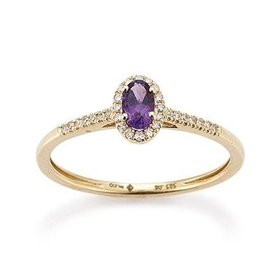 Ring Gelbgold 585 Amethyst Brillant Palido K11617G