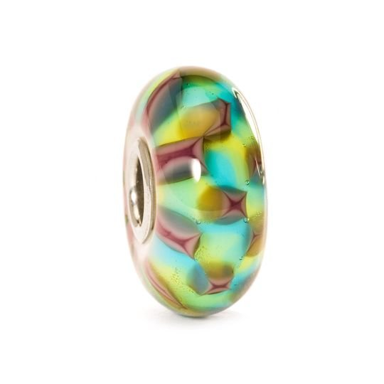 Trollbeads, TGLBE-10242, Türkis-Purpurrotes Schach, Schachmuster