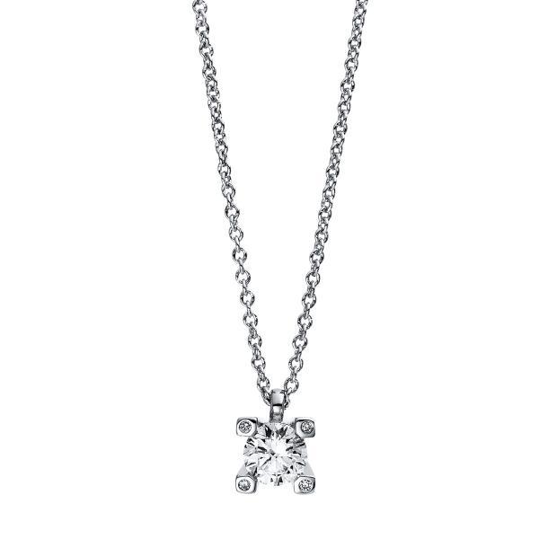 DiamondGroup Diamantcollier Collier 4er-Krappe 18 kt Weißgold - 4D995W8-2