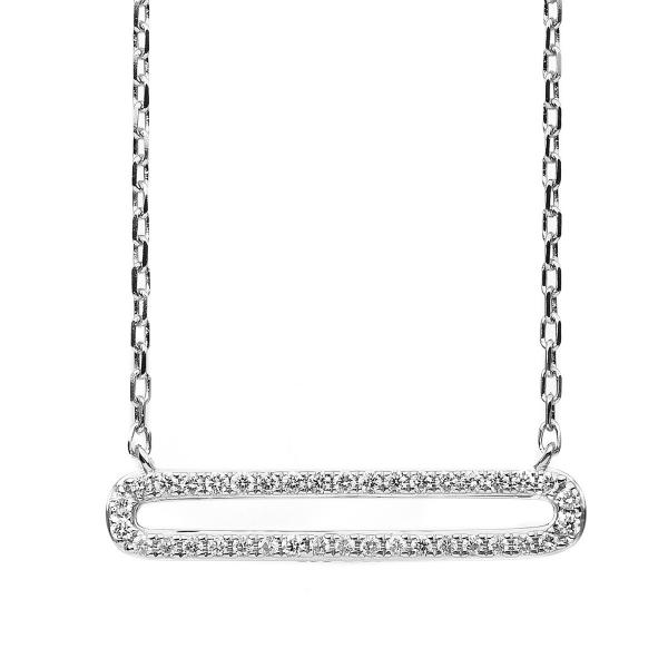 DiamondGroup Diamantcollier Collier 14 kt Weißgold - 4B838W4-1