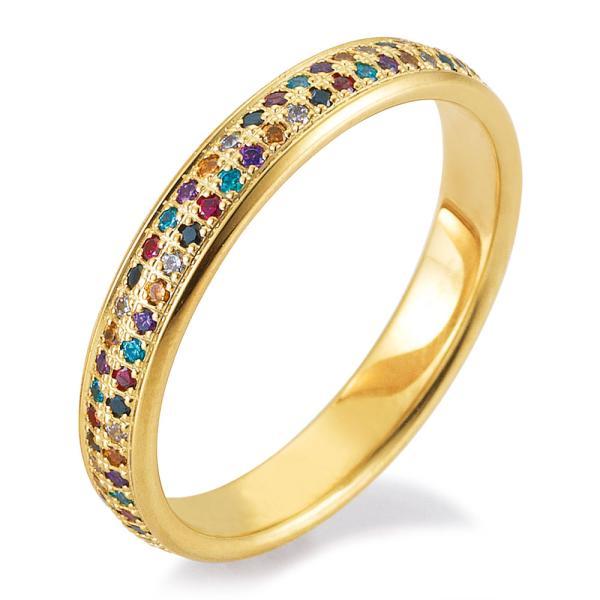 Verlobungsring Gelbgold Breuning 48/06469 mit farbigen Brillanten