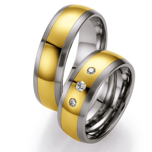 Ruesch Edelstahl und Gelbgold 585 Ringe ST500B