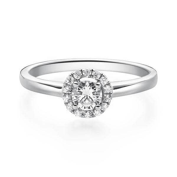 Rubin 1589 Halo Diamantring Platin 950 0.330 ct.