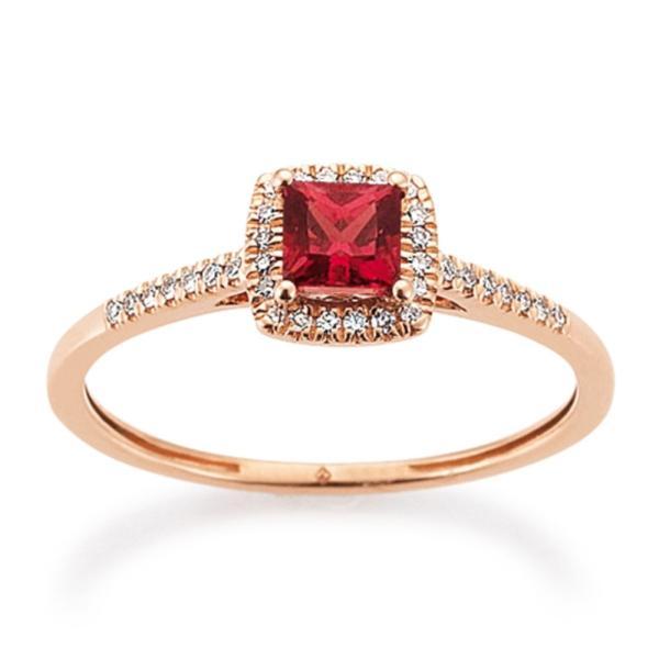 Ring Rotgold 585 Rhodolit Brillant Palido K11623R