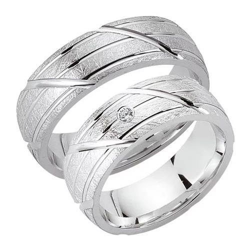 Schwarz Trauringe / Partnerringe Silber 925 Zirkonia SW925-040 Sterlingsilber kreismatt