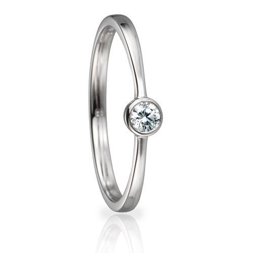 Solitaire Ring 82154 Brillant 0,10 ct Weißgold