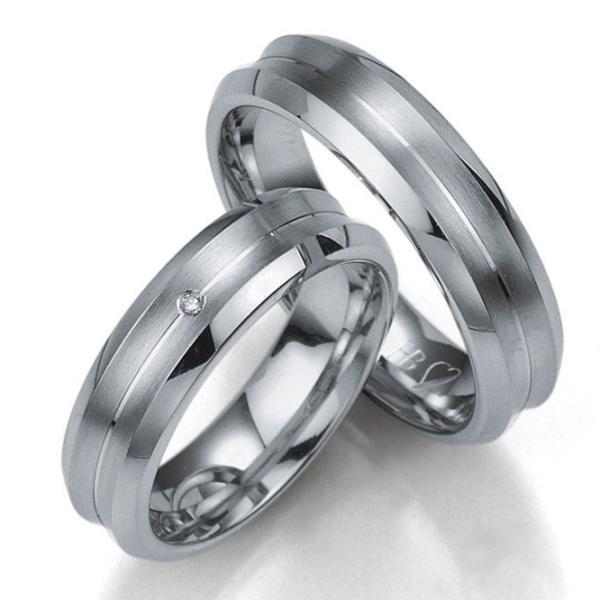 Breuning Silberringe Verlobungsringe mit Platin. 08023 08024