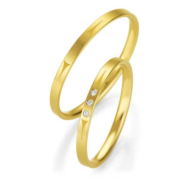 Trauringe Gelbgold Basic Slim Breuning 48/04319 & 48/04320