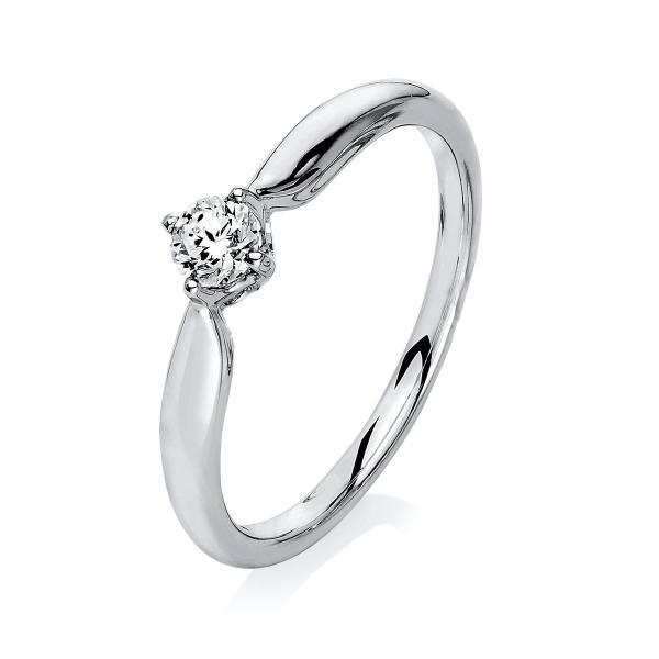 DiamondGroup Solitär Ring 4er-Krappe 14 kt Weißgold - 1L115W453-1