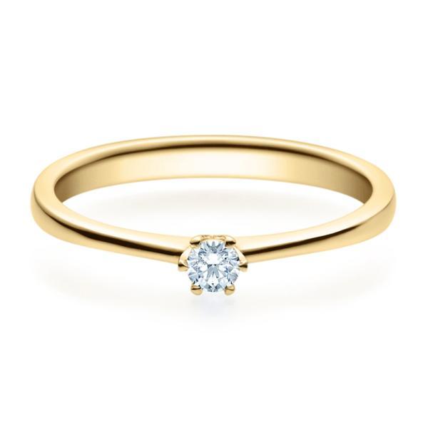 Rubin Verlobungsring 18016 Gelbgold Solitär Ring 0.100 ct.