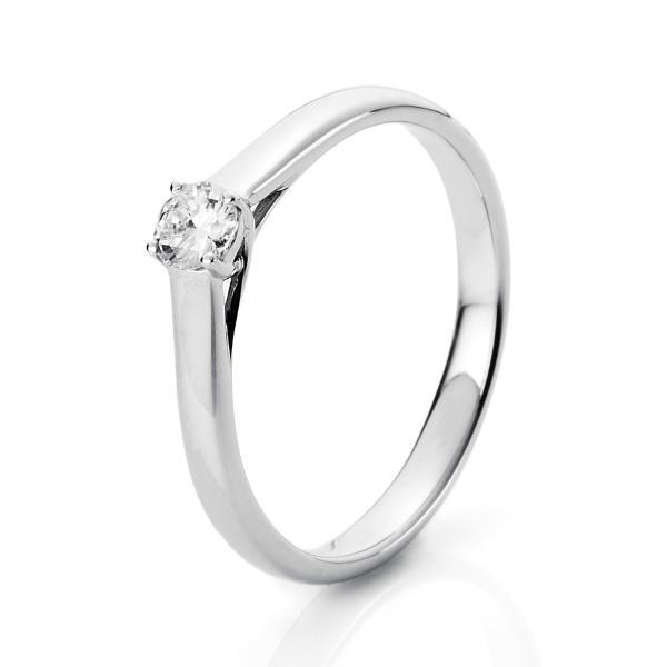 DiamondGroup Solitär Ring 4er-Krappe 14 kt Weißgold - 1A441W451-2