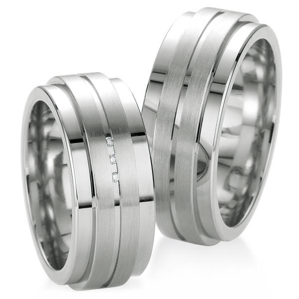 Breuning Trauringe / Partnerringe aus 925er Silber - 48/08039 & 48/08040