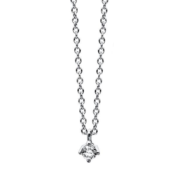 DiamondGroup Diamantcollier Collier 4er-Krappe 14 kt Weißgold - 4C771W4-1