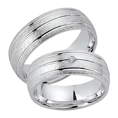 Schwarz Trauringe / Partnerringe Silber 925 Zirkonia SW925-029 Sterlingsilber kreismatt