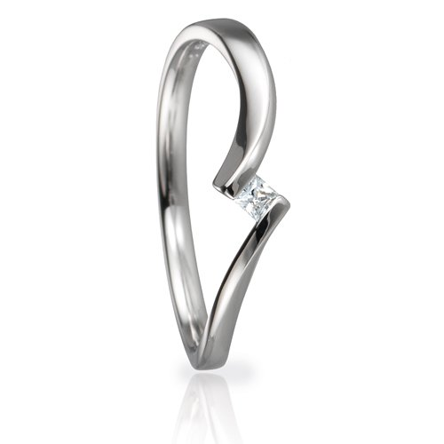 Solitaire Ring 82134 Prinzess 0,06 ct Weißgold