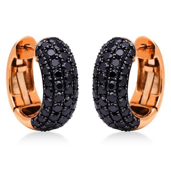 DiamondGroup Creolen aus 18 kt Rotgold, Fassung schwarz rhodiniert 2E555R8-1