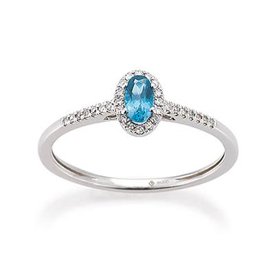 Ring Weißgold 585 Topas London Blue Brillant Palido K11605R