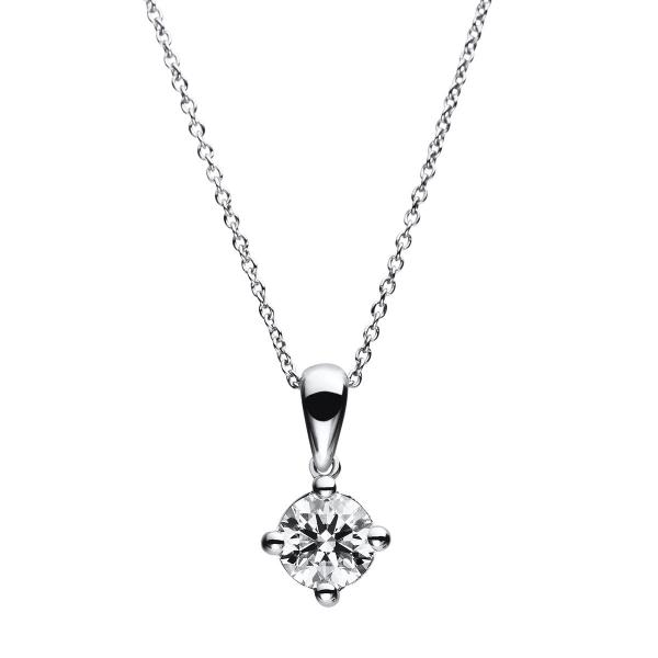 DiamondGroup Diamantcollier Collier 4er-Krappe 14 kt Weißgold, 40 cm, Anker, Karabiner - 4A785W4-1